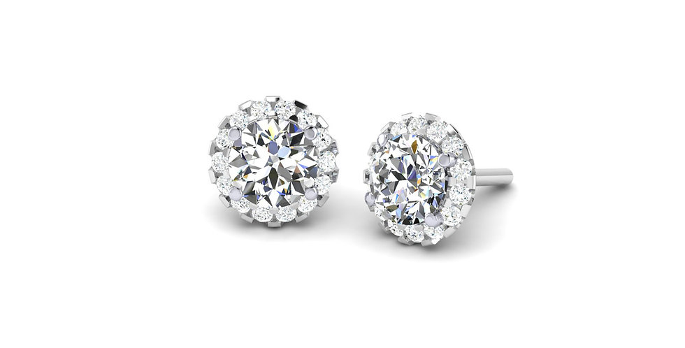 White Gold Round Diamond Halo Stud Earrings