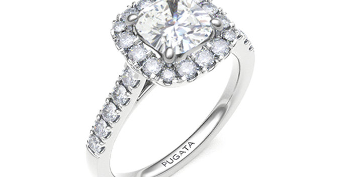 Cushion Cut Halo Pave Diamond Engagement Ring