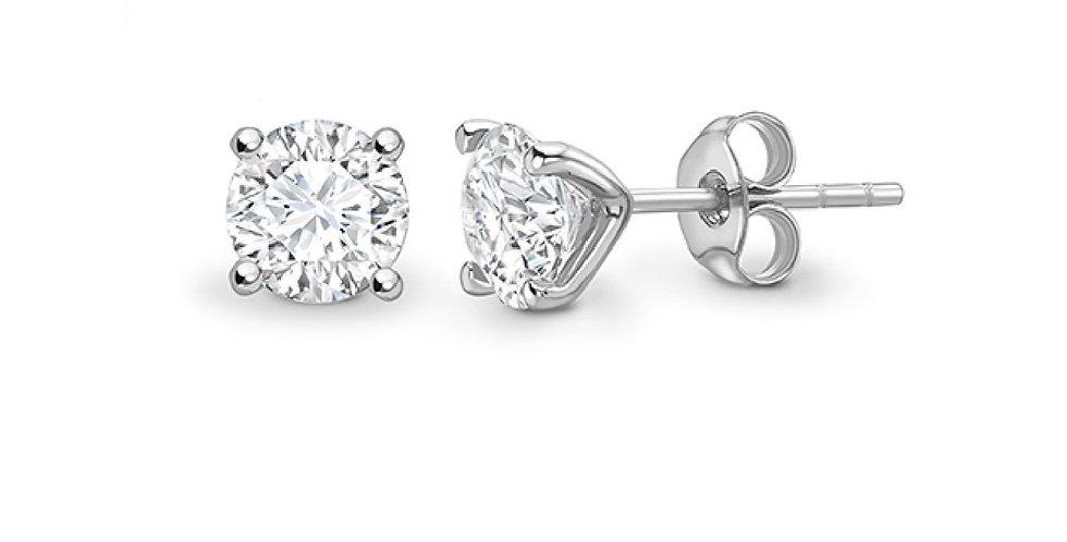 White Gold Diamond 4 Stud Earrings