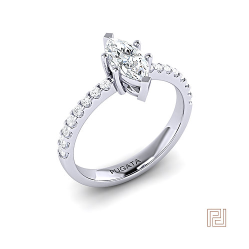 White Gold Marquise Cut Diamond Engagement Ring
