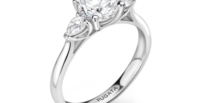 Round & Pear Trilogy Engagement Ring