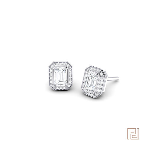 White Gold Emerald Cut Diamond Halo Stud Earrings
