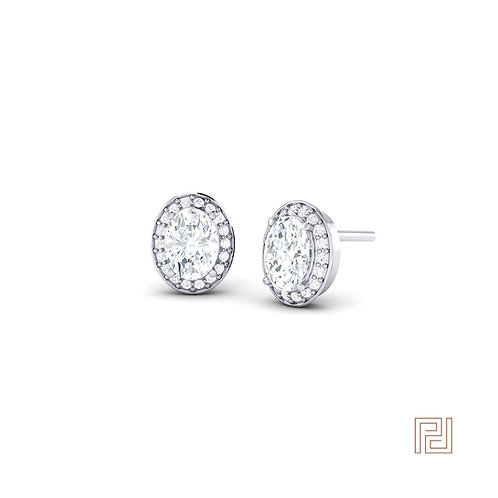 White Gold Oval Diamond Halo Stud Earrings