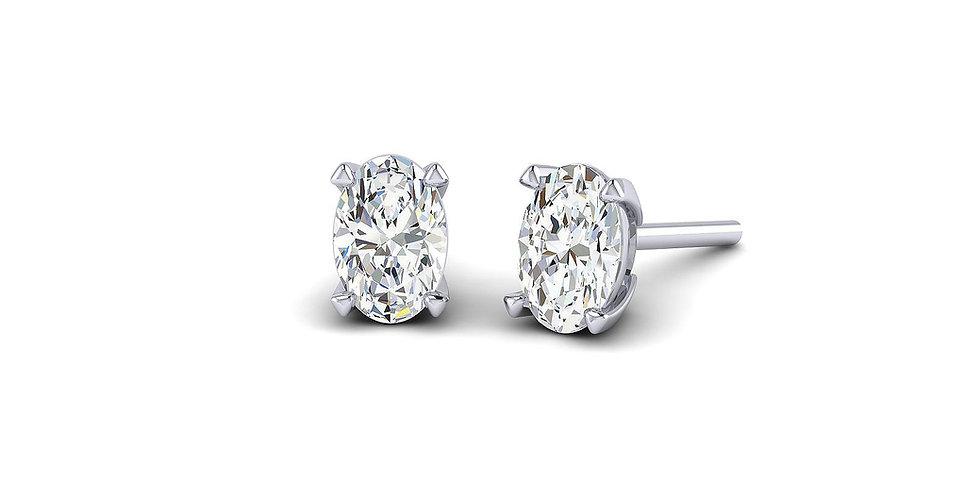 White Gold Oval Diamond Stud Earrings