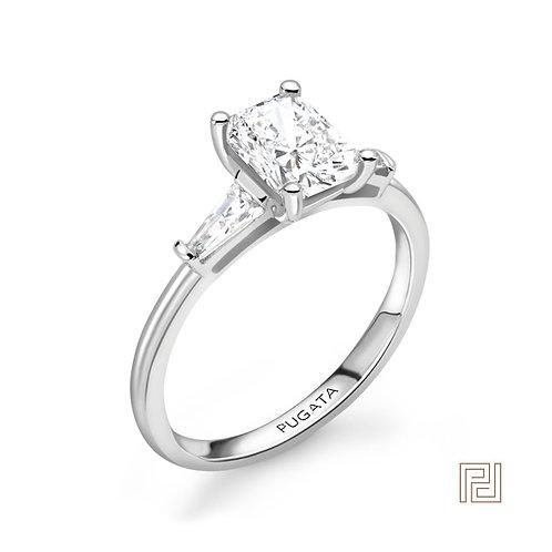 White Gold Radiant Trilogy Diamond Ring