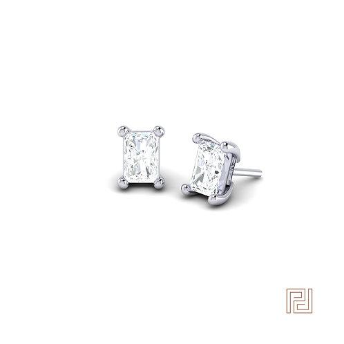 Platinum Emerald Cut Diamond Stud Earrings