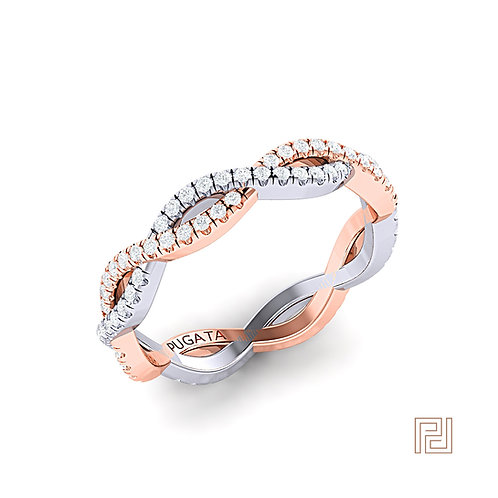 Platinum & Rose Gold Pavé Infinity Ring