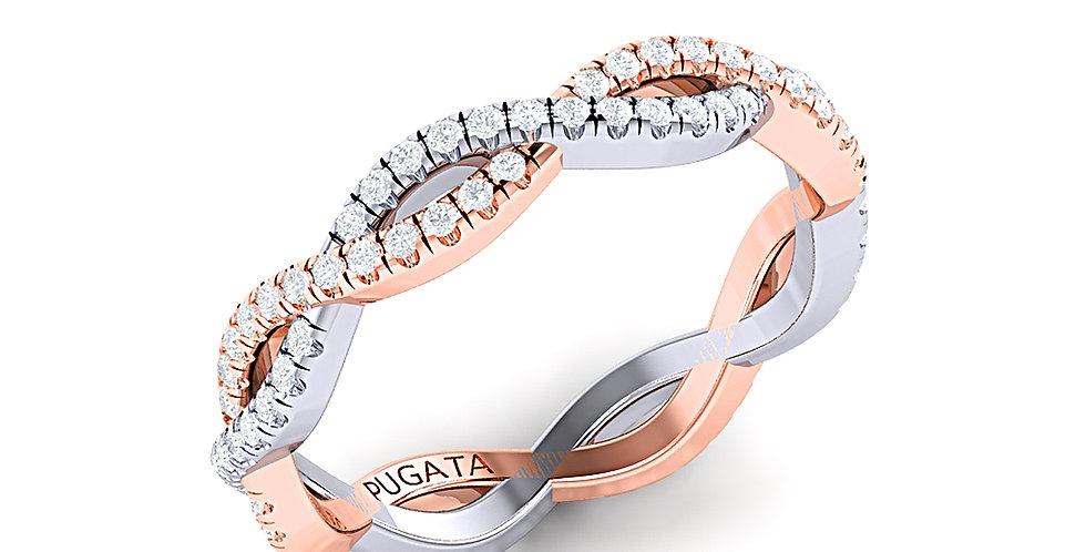 Platinum & Rose Gold Pavé Infinity Ring