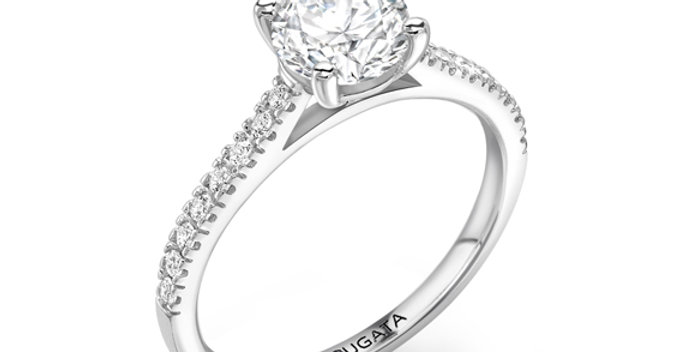 Round Diamond Solitaire Engagement Ring with Sparkling Shoulders