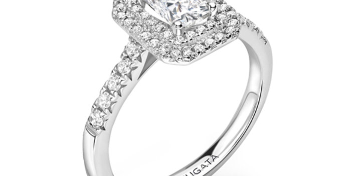 Double Halo Radiant Engagement Ring