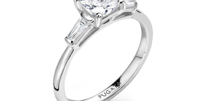 Cushion Trilogy Diamond Engagement Ring