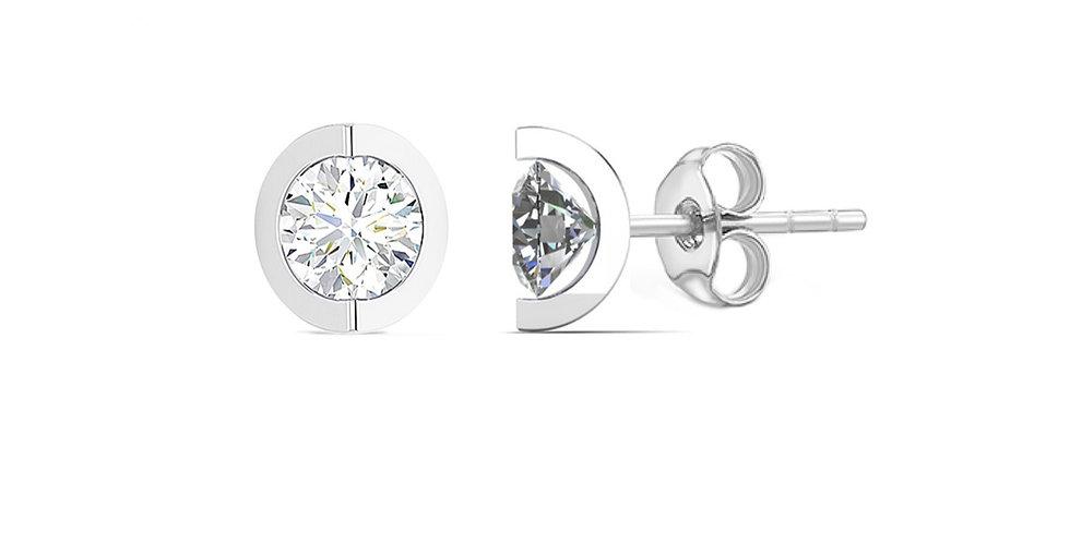 Curve Round Diamond Earrings