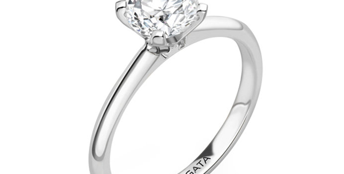V Shaped Classic Solitaire Diamond Engagement Ring