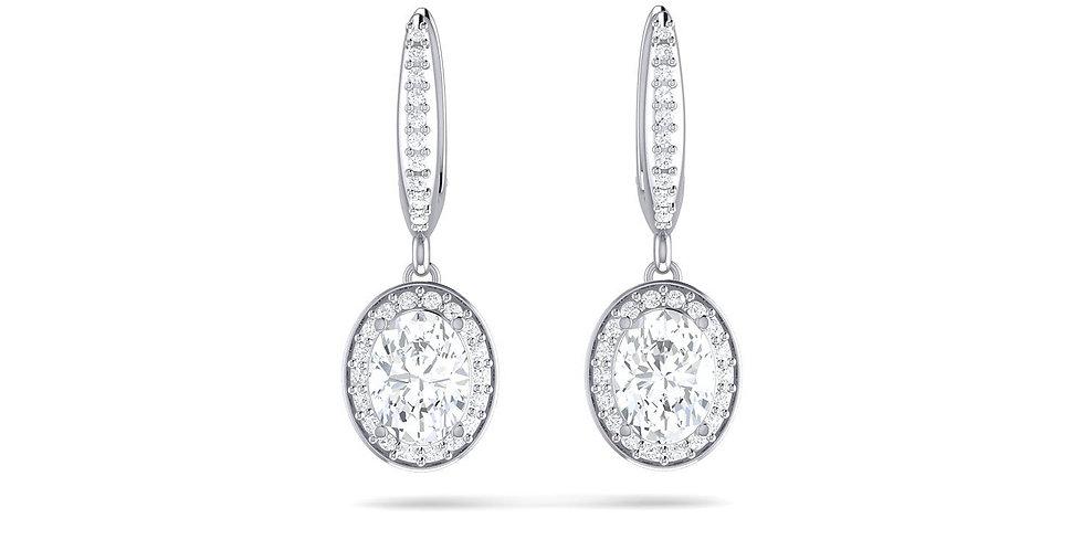 White Gold Oval Diamond Halo Drop Earrings