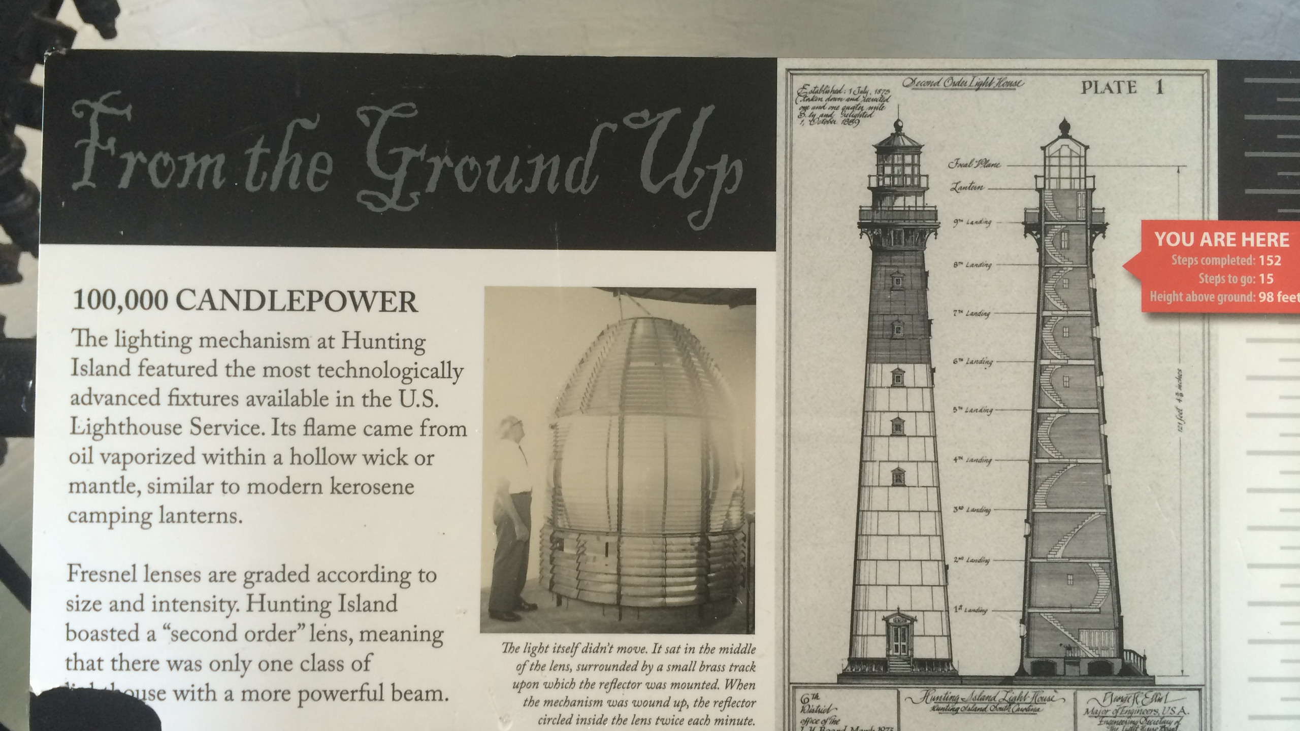 Information Board inside the Light House at Hunting Island