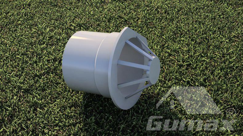 PVC Ersatzteile für eine zusätzliche Wasserabfuhr in einem Pfost