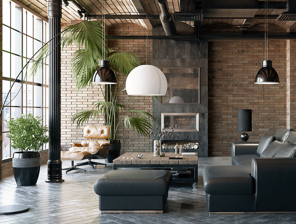 A contepmA contemporary living room with beautiful fireplace and smart switch on the wall