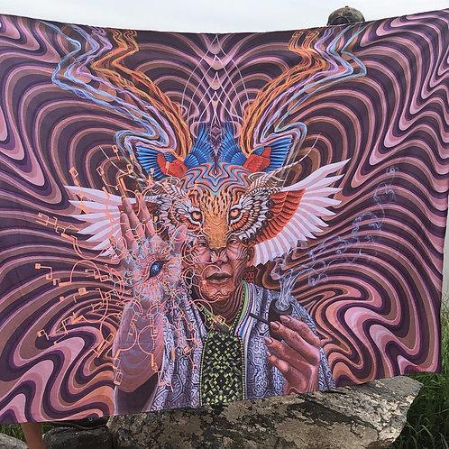 'Mundo Ikayari' blanket by Luis Tamani