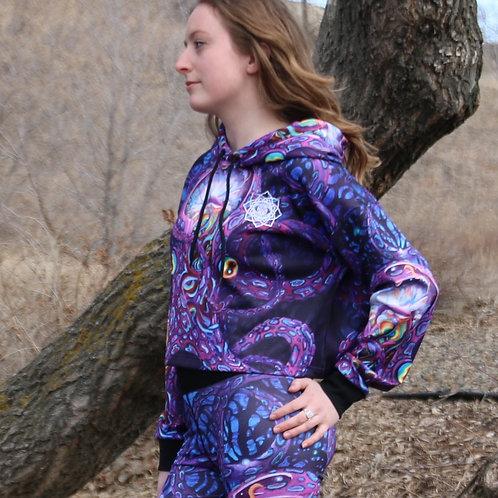 'Lotus8' crop hoodie by Jonathan Solter