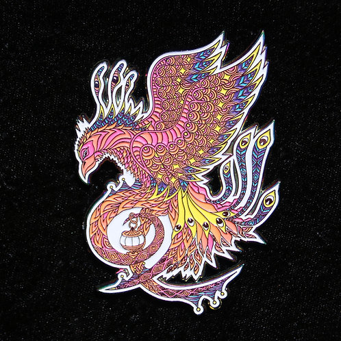 """Phoenix"" by Phil Lewis, hat pin, anodized"