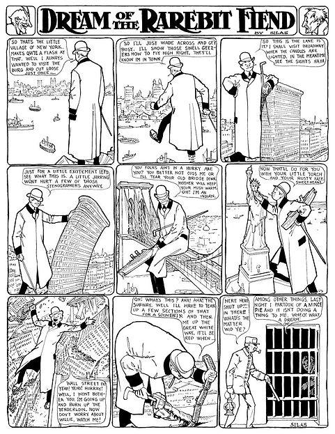 Dream of the Rarebit Fiend comic strip drawing by Winsor McCay, giant man walking through New York City, 1-7-1905