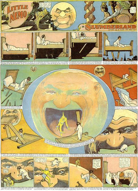 Little Nemo in Slumberland comic drawing by Winsor McCay, man in the moon dream