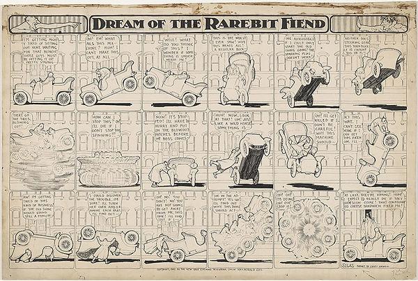 Dream of the Rarebit Fiend comic strip drawing by Winsor McCay, bucking automobile, 1907