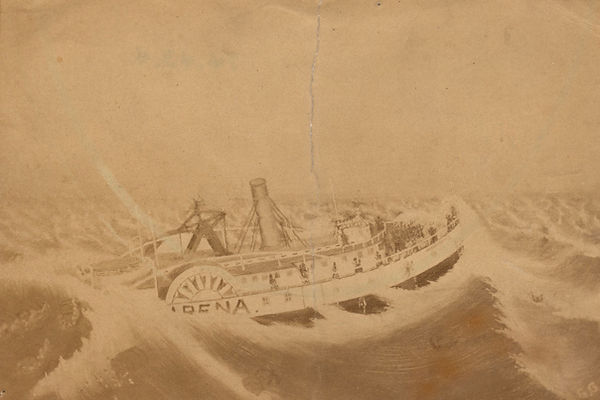 Drawing of steam ship USS Alpena sinking in waves of Lake Michigan by Winsor McCay