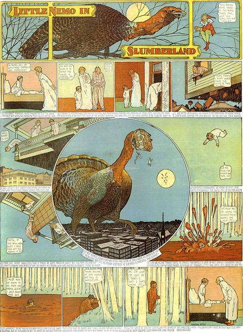 Little Nemo in Slumberland comic drawing by Winsor McCay, flying boy with giant turkey, 11-26-1905