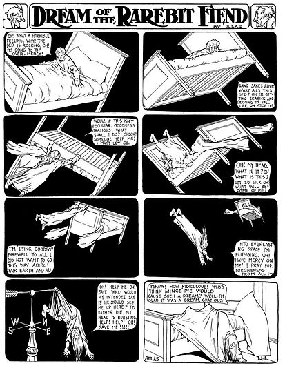 Dream of the Rarebit Fiend comic strip drawing by Winsor McCay, woman falling off flying bed, 1-28-1905_of_the_Rarebit_Fiend_1905-01