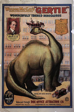 Illustrated advertisement poster for film, Gertie the Dinosaur by Winsor McCay, Large dinosaur with car with people on head