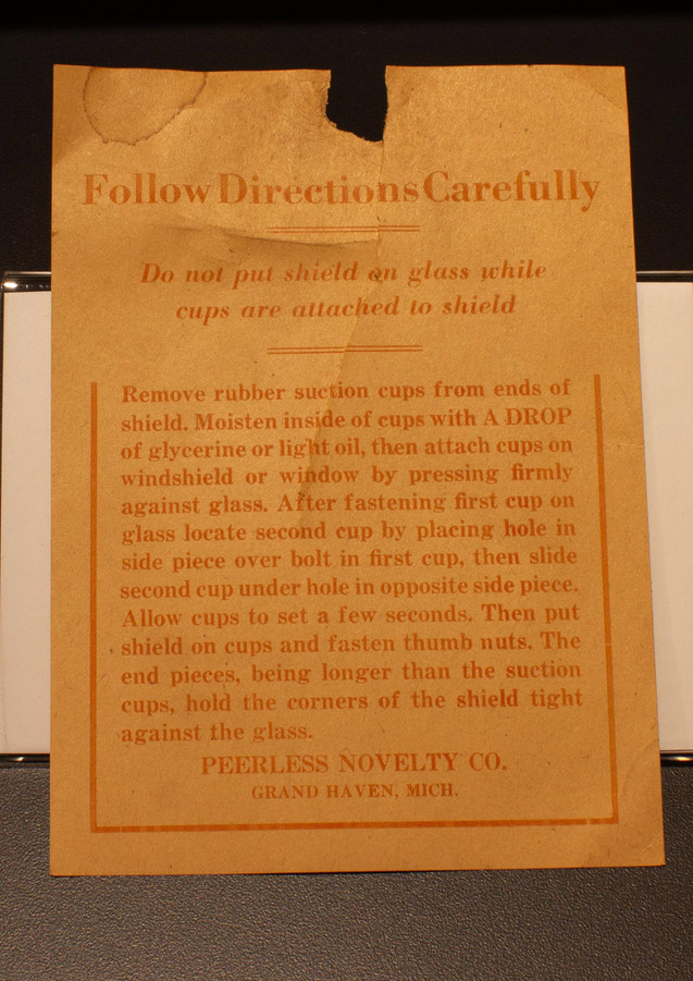 TCHM Exhibit 14.jpg - photograph of the instructional insert for the Peerless Frost shield (object 86.39.1).
