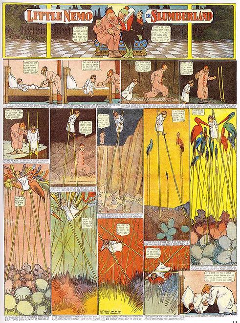 Little Nemo in Slumberland comic drawing by Winsor McCay, boy walking on stilts with clowns