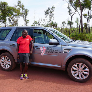 Evelyna, Programs Coordinator - Galiwin'ku, with her new Land Rover.