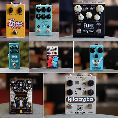 Picture of eight guitar pedal brands