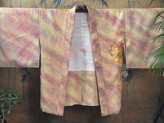 Vintage Japanese silk chrysanthemum shibori Kimono Jacket
