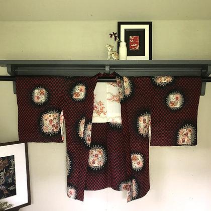 Vintage Japanese silk Kimono Jacket in abstract geo design