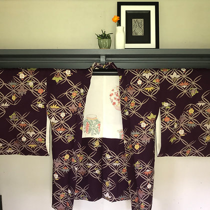 Vintage Japanese silk Kimono Jacket in chrysanthemum and geo design