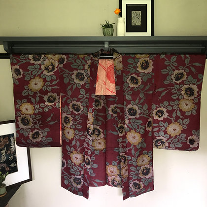 Vintage Japanese silk Kimono Jacket in rose design