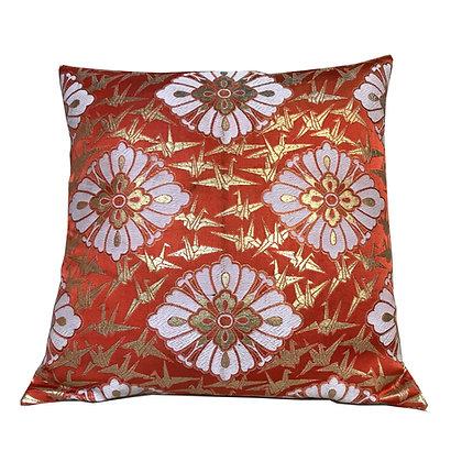 Vintage Japanese silk obi embroidered cushion