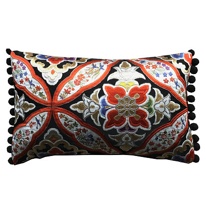 Vintage Japanese silk obi embroidered cushion