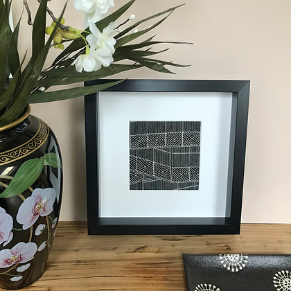 Framed vintage silk kimono picture showcasing the Wave