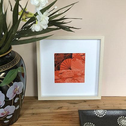 Framed vintage silk kimono picture showcasing the Folding Fan