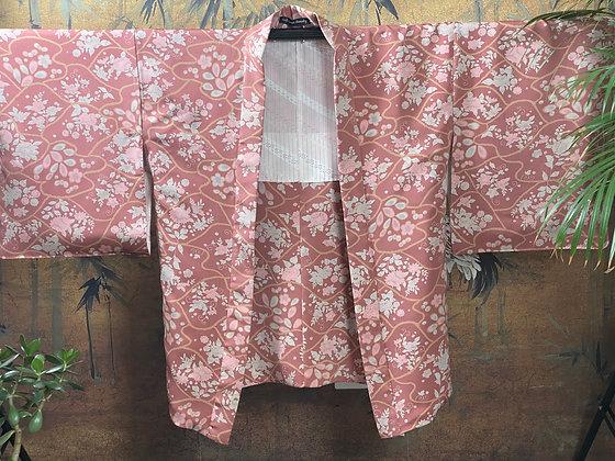 Vintage Japanese silk chrysanthemum  print Kimono Jacket