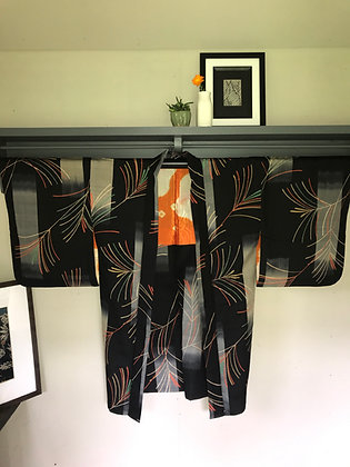 Vintage Japanese silk Kimono Jacket in pine leaf design