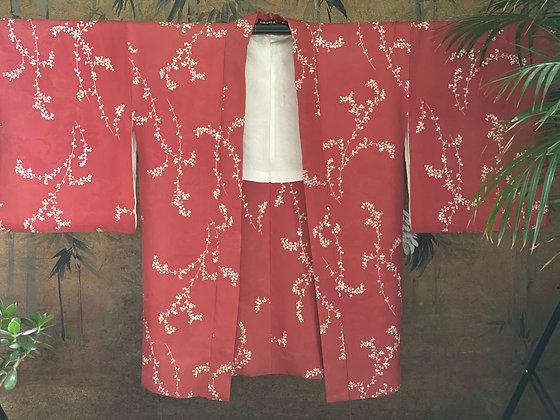 Vintage Japanese silk cherry blossom print Kimono Jacket
