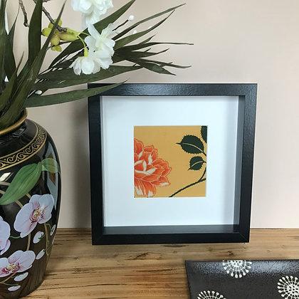 Framed vintage silk kimono picture showcasing the Camellia flower