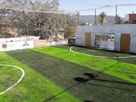Cancha de Pasto  Sintético futbol 5 franjeada Lima y Field Green