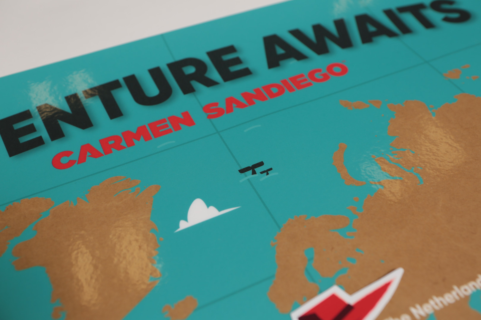 "Close up of ""Adventure Awaits"" Map"