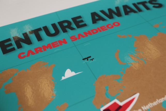 "Close up of ""Adventure Awaits"" Map"